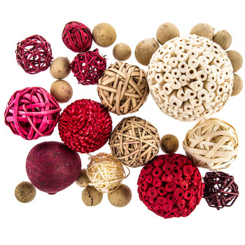 Red & White Decorative Spheres